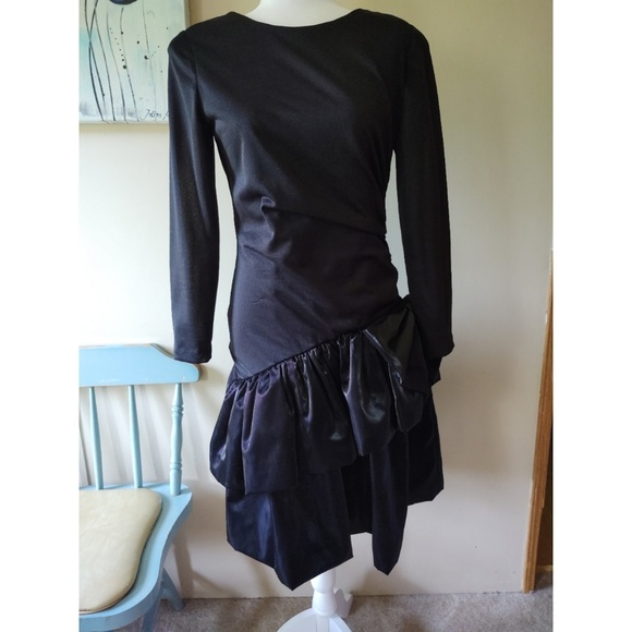 Vintage Dresses & Skirts - Vintage 80s Black Prom Dress
